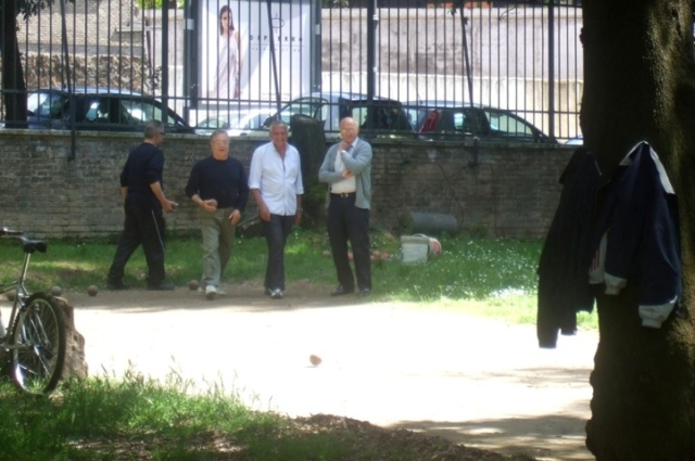 Men playing Bocce Ball