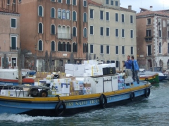 Making deliveries in Venice, Italy