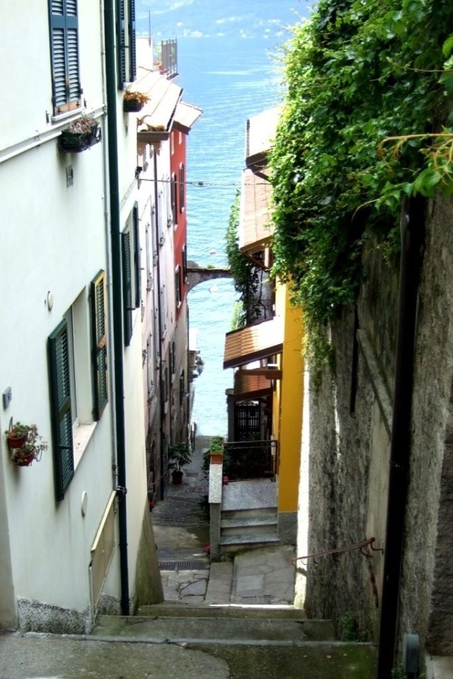 Steep staircase in Varenna, Italy