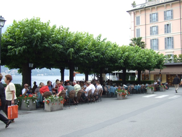 Outdoor restaurant in Bellagio,Italy on  Lake Como