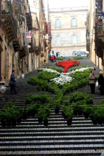 Flowers on the staircase in Caltagirone, Sicily Photo by Margie