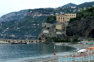 Maiori beach and dock, Amalfi Coast