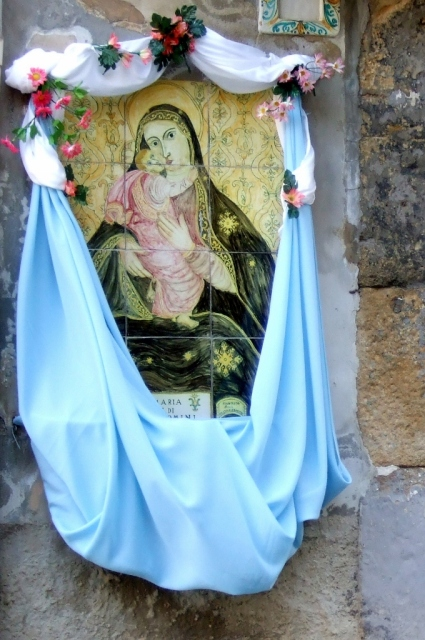 Shrine in wall in Caltagirone