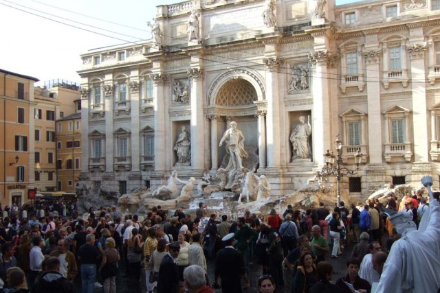 Crowds at Trevi Fountain in Rome