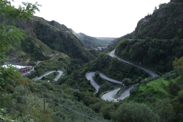 Winding roads in Sicily