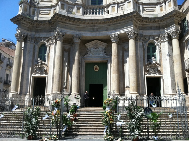 A church in Catania decorated for a wedding