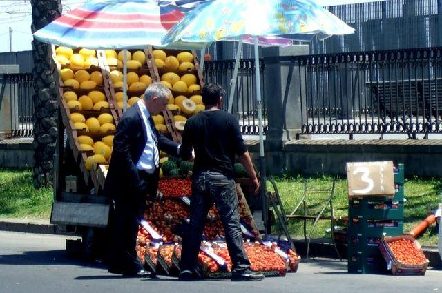 Fruit vendors in Catania - Photo by Margie Miklas