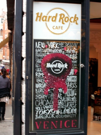 Hard Rock Cafe in Venice, Italy Photo by Margie Miklas