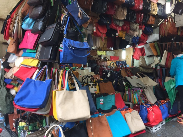Leather vendors at San Lorenzo Market