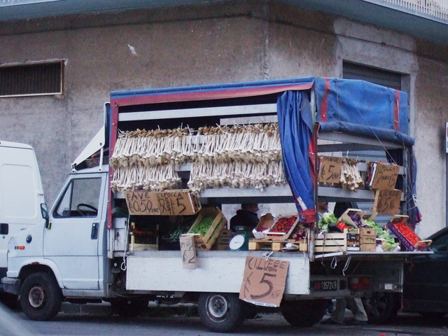 Sicily truck with produce in Riposto Photo by Margie Miklas