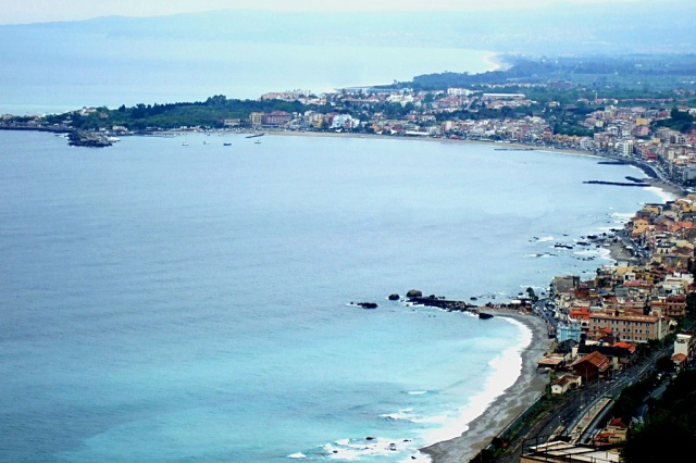 Giardini Naxos and Bay of Giardini - View from Taormina photo by Margie Miklas