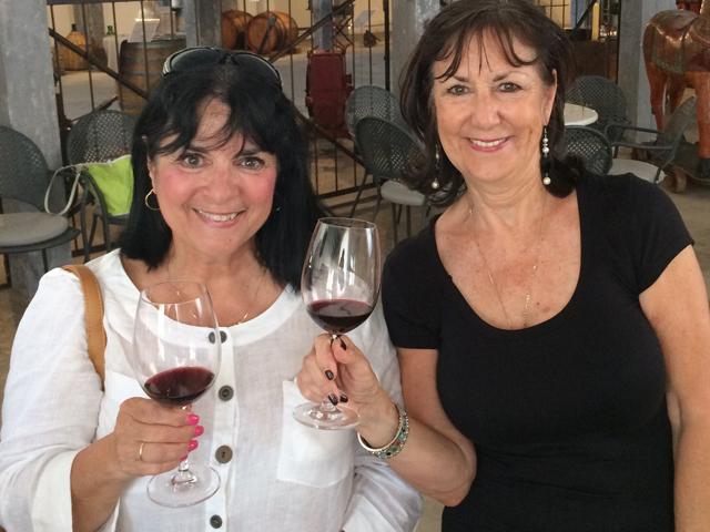 Victoria and Margie in Puglia w wine Photo by Victoria De Maio