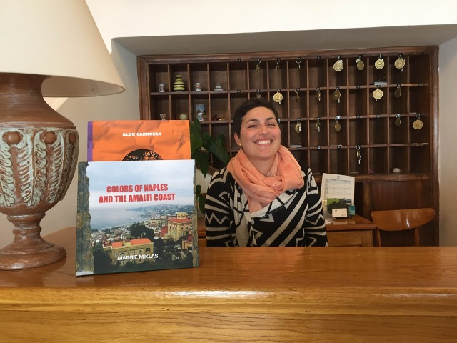 Gabriella at Hotel Pupetto with my book Photo by Margie Miklas