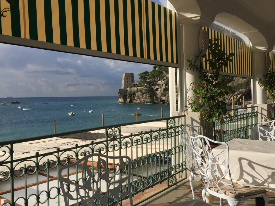 Terrace at Hotel Pupetto in Positan Photo by Margie Miklas