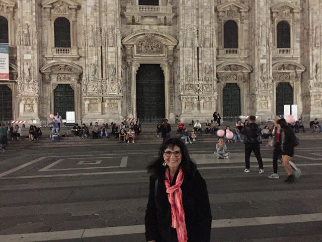Margie in Milan at night photo by Margie Miklas